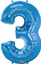 Number 3 Blue Super Shape Number Foil Balloon
